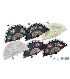 Ventaglio plastica tessuto fiori bordo pizzo art. 15455