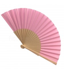 Ventaglio legno e tessuto colore unito rosa art. CORALLO ROSA