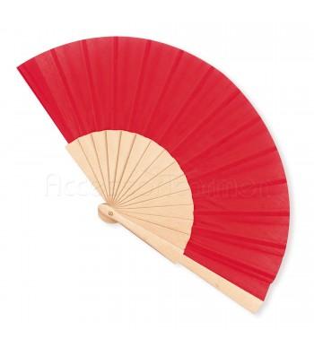 Ventaglio legno e tessuto colore unito rosso art. CORALLO ROSSO