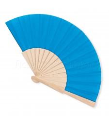 Ventaglio legno e tessuto colore unito azzurro art. CORALLO AZZURRO